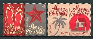Cook Islands 2017 MNH Christmas Starfish Trees Beach Huts 4v Set Stamps