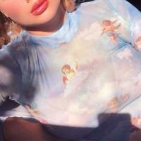 Women Angel Print Perspective Long Sleeve T-Shirt Slim Turtleneck Crop Top S M L