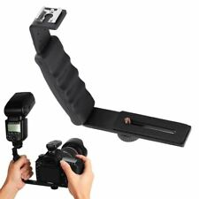 Photo Video L Flash Bracket with 2 Standard Hot Shoe Mount for Light Camera