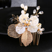 Crystal Rhinestone Pearl Flower Wedding Bridal Hair Comb Hairpin Clip Jewelry