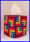 RED YELLOW GREEN BLUE NURSERY HANDMADE PLASTIC CANVAS TISSUE BOX COVER TOPPER