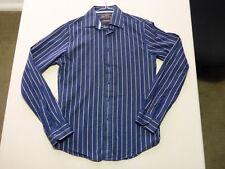 085 MENS NWOT BEN SHERMAN NVY / BLK / BLUE EMROIDERED STRIPE L/S SHIRT SML $120.