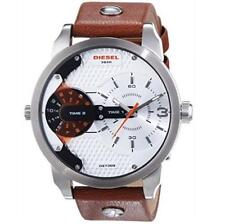 Diesel DZ7309 Men's Mini Daddy Chronograph Brown Leather Strap Watch NEW!