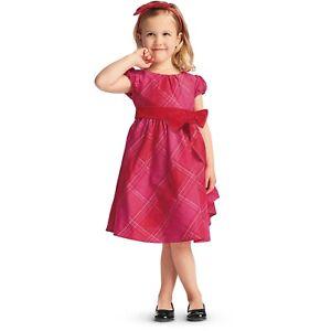 AMERICAN GIRL Size 6 Tartan Taffeta Red Valentine Christmas Dress Bitty Baby