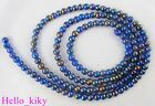 2 Str Blue Glass pearl confetti beads ROUND 6mm M1303