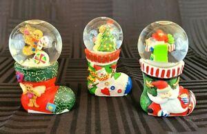 3 Santa Snowman Gingerbread Man Stocking Mini Snow Globe Accents & Occasions Set
