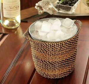 CALAISIO, WOVEN SMALL ICE BASKET WITH REMOVABLE GALVANIZED BUCKET INSERT