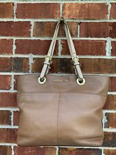 Michael Kors Women's Tote Shopper Handbag Large Leather Gold Accents Brown Bag