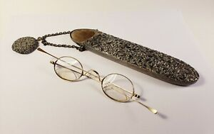 10K gold spectacles.  Solid gold: marked & tested. Antique eyeglasses with case.