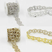 Bridal Dress Sewing Trim Clear Crystal AB Rhinestone Applique Costume Chain
