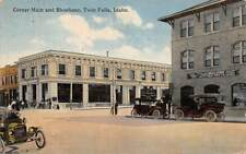 TWIN FALLS, ID ~ CORNER MAIN & SHOSHONE, DRUG STORE & AUTOS ~ used 1916