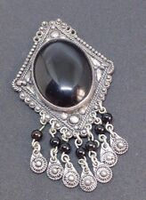 Israel Vintage Sterling Silver 950 Onyx Pendant for crafts