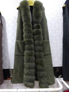 Women's Fur Coats Cashmere Real Fox Fur Collar Trims Vest Fur Gilets Loose Style