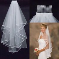1.5M Bridal Double Layer Veil Elbow Length With Bridal Wedding Dress Accessory #