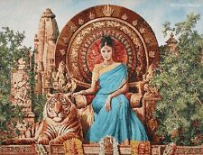 WALL JACQ. WOVEN TAPESTRY Indian Princess MEDIEVAL SCENE - TIGER ANIMAL PICTURE