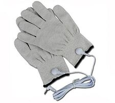1 X PAIR OF ELECTRO CONDUCTIVE FIBRE GLOVES FOR ESTIM,EMS,TENS MACHINE PLUS LEAD