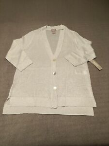chicos shine button front cardigan sweater silver small classic fit new