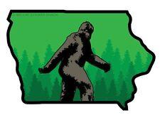 Iowa state shape with Bigfoot (Bumper Sticker)
