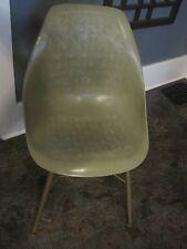 1 vtg Herman Miller Eames Molded Plastic Side Chair green metal legs shelf 3 ava