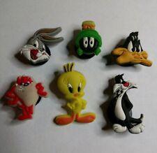 6 pc set Looney Tunes Cartoon SHOE CHARMS LOT FOR CROC SHOES JIBBITZ BRACELET