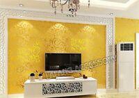 10M Non-woven Damask Textured Embossed Modern Luxury Flocking Wallpaper Roll LP