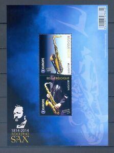 BELGIUM 2014 europa Adolphe Sax saxophone M/S MNH** BLOK 218
