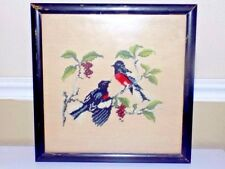 Vintage Birds Completed  NEEDLEPOINT Framed in Black Distressed Wood Wall Art
