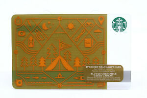 Starbucks Coffee 2014 Gift Card Camp Camping Tent Trees Zero Balance No Value