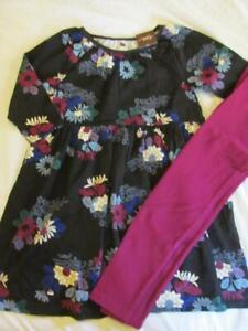NWT 8 Tea Collection Kata Floral Black Knit Dress Magenta Leggings