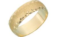 9CT GOLD DIAMOND CUT SATIN WEDDING RING 6mm WEDDING ENGAGEMENT BAND RING 2.4g