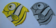 2 Lovely Cartoon Swimming cap Silicone swim caps for Kid Yellow fish+Silver fish