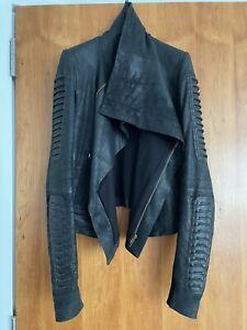 Rick Owens black blistered leather jacket size 48