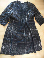 THANHMINH Lagenlook chices Wollkleid schwarz weiß gemustert Gr. 42 TOP SJ216