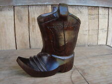 "COWBOY BOOT 4"" Tall Ironwood Hand Carved Sanded Polished Great Gift Brand NEW"