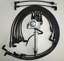 SMALL BLOCK CHEVY BLACK Small Cap HEI Distributor,SPARK PLUG WIRES under exhaust