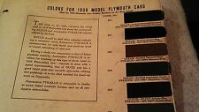 1939  PLYMOUTH PAINT CHIP CHART