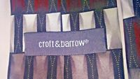 "Croft & Barrow Mens SILK Tie Necktie Geometric Red Black Gray 60"" x 3.5"" #T12"