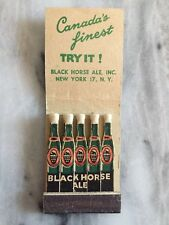 Vintage Black Horse Ale Feature Matchbook Canada's Finest Imported NY Rare