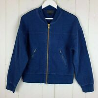 J Crew Womens Jacket Large L Navy Blue Gold Zipper Pockets Quilted Fitted Casual