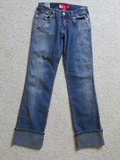 NEW WITH TAGS WOMENS/JUNIORS ECKO RED DARK BLUE JEAN PANTS SIZE 5 CUFFED BOOTCUT