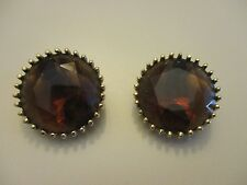 Vintage Chunky Topaz Glass Cut Stone Round Clip On Earrings