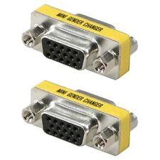 2x DB15 HD D-SUB 15 Pin VGA SVGA Female Mini Gender Changer Coupler Gold Plated