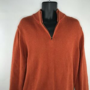 LL BEAN Burnt Orange Pullover Crewneck 1/4 Zip Sweater SZ M