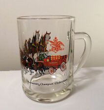 BEER MUG Glass 1970s BUDWEISER Clydesdales HORSES