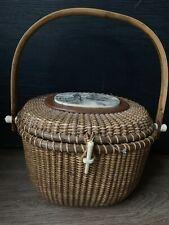 Vintage Nantucket Friendship Basket With Skrimshaw Signed N. Eaton