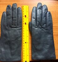 Navy Dark Blue Leather Woman's Gloves Size Medium Soft Acrylic Lined Driving
