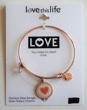 Rose Gold Daughter Bangle Bracelet  I Love You Heart Pendant Charm - FLASH SALE
