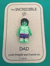 Fathers Day Gift The Incredible Hulk Marvel Lego Personalised Keyring Saccos