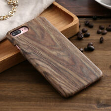 Wood Grain Pattern PU Leather Shockproof Back Case Cover For iPhone X 6 7 8 S8+