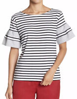 NWT Womens Romeo & Juliet Couture S/S Striped Bell Sleeve Tee Top Sz Large
